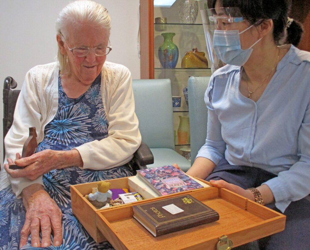 Moran resident Evelyn sees her Memory Box for the first time